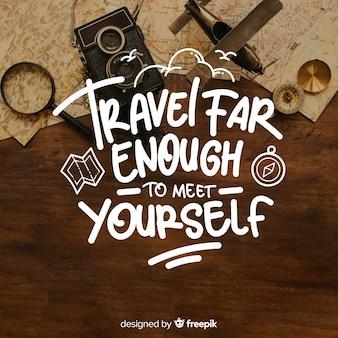 Letras de viaje con cita e imagen.