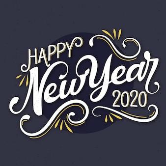 Letras vintage feliz año nuevo 2020 backrgound