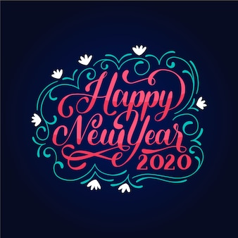 Letras vintage feliz año nuevo 2020