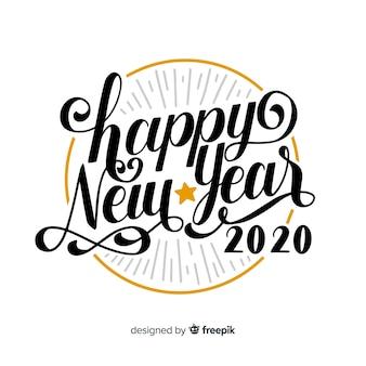 Letras vintage con feliz año nuevo