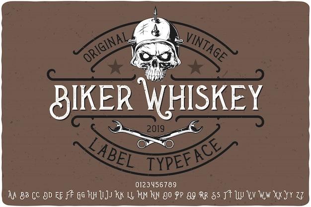 Letras vintage de motero whisky