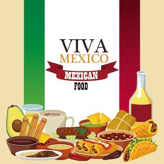 Letras de viva mexico y comida mexicana con tequila y menú en bandera.