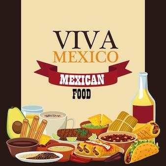 Letras de viva mexico y comida mexicana con tequila y menú.
