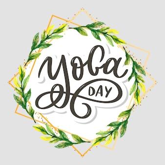 Letras de yoga. fondo día internacional del yoga. para póster, camisetas, bolsos. tipografía de yoga. elementos vectoriales para etiquetas, logotipos, iconos, insignias.