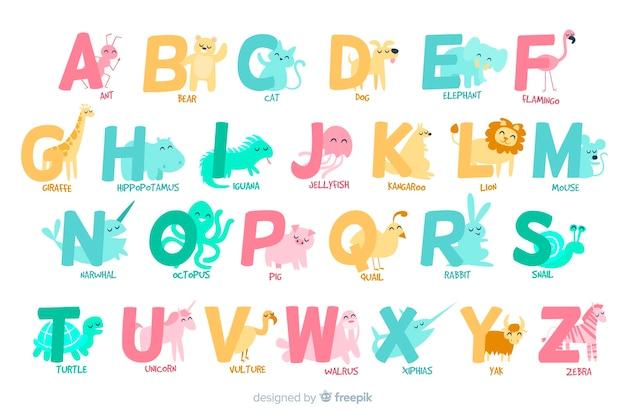 Letras de la a a la z con alfabeto animal