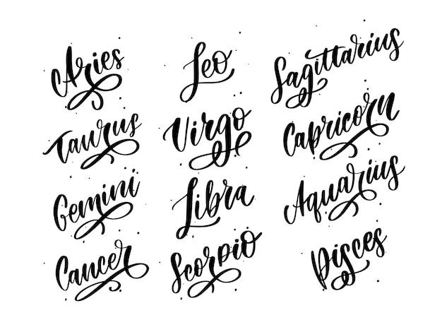Letras del zodiaco vector de señal. ilustración de texto de astrología de dibujos animados. conjunto de horóscopo escrito a mano.
