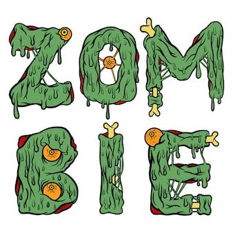 Letras de zombie con huesos y ojos