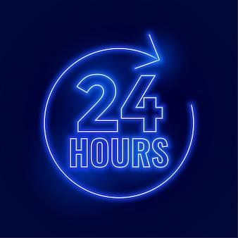 Letrero abierto neón 24 horas.