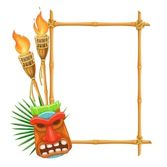 Letrero de bambú tiki