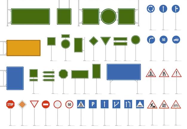 Letrero de calle. señales de tráfico de dirección, advertencia de peligro y señal de tráfico de dirección. símbolos de caracteres reguladores y de guía, conjunto de iconos de letreros de límite en blanco de carretera