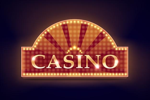 Letrero de casino iluminado naranja retro vector para carteles, volantes, vallas publicitarias, sitios web y clubes de juego aislados sobre fondo negro