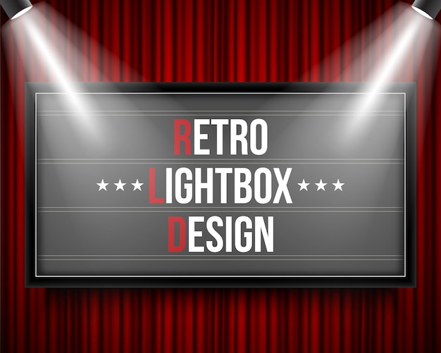 Letrero de cine brillante, retro lightbox theater.
