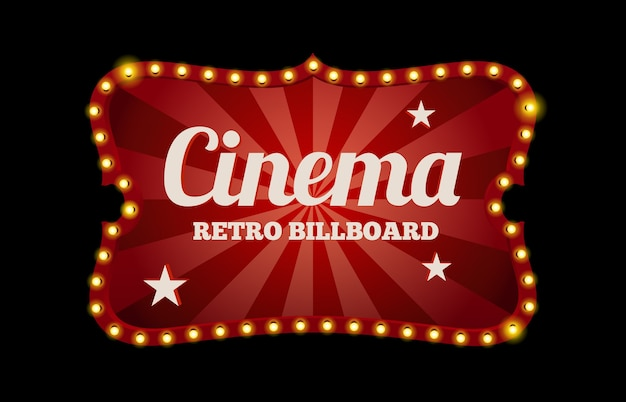 Letrero de cine o cartelera en estilo retro rodeado de luces de neón en negro