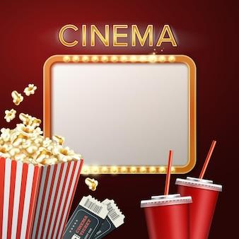 Letrero de cine con palomitas de maíz, entradas y bebidas.
