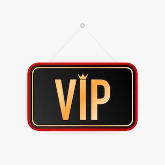Letrero colgante vip. señal para la puerta ilustracion vectorial