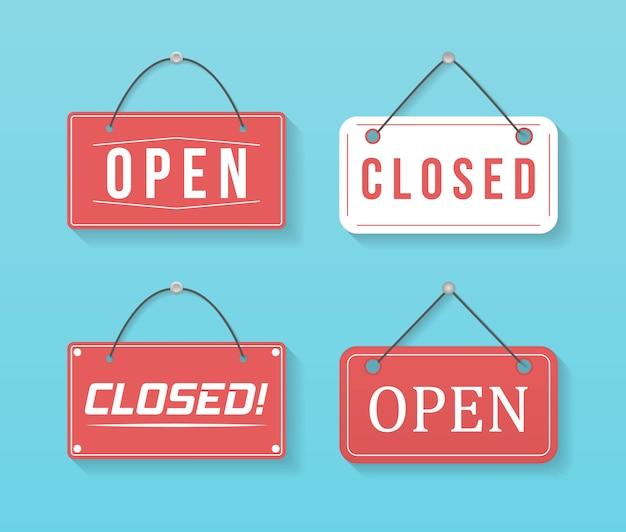 Un letrero comercial que dice adelante, estamos abiertos. imagen de varios carteles comerciales abiertos y cerrados. letrero con una cuerda.