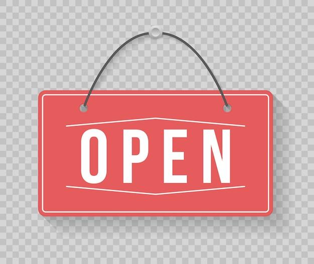 Un letrero comercial que dice ven, estamos abiertos. imagen de varios signos de negocios abiertos y cerrados. letrero con una cuerda. ilustración,.