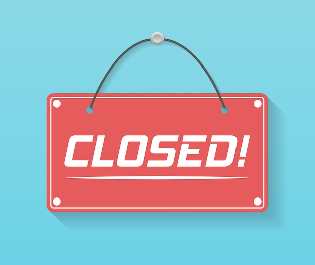 Un letrero comercial que dice ven, estamos abiertos. imagen de varios signos de negocios abiertos y cerrados. letrero con una cuerda.