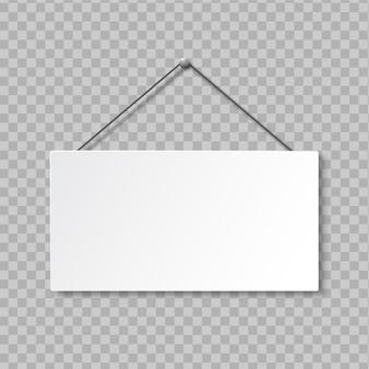 Letrero cuadrado vacío realista sobre fondo transparente. letrero de puerta colgando de la soga