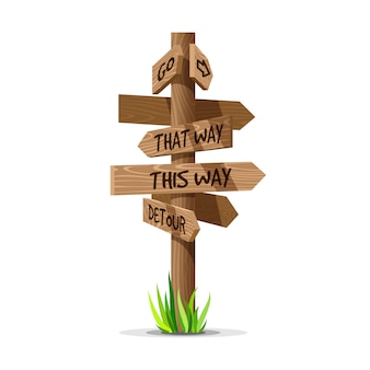 Letrero de dirección de flecha de madera