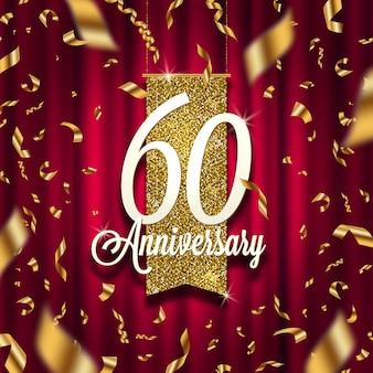 Letrero dorado de aniversario en foco sobre fondo de cortina roja y confeti dorado. ilustración.