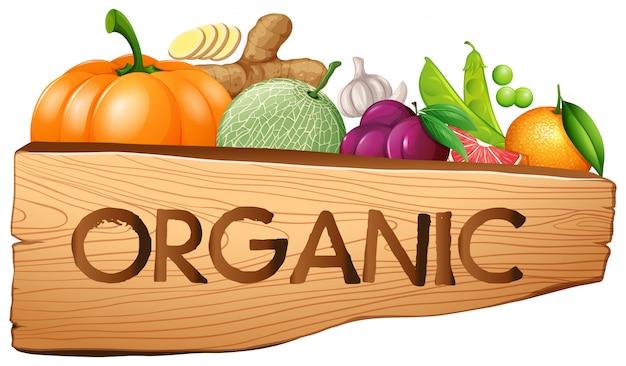 Letrero ecológico con frutas y verduras.