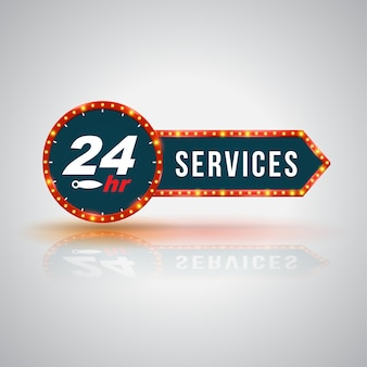 Letrero de flecha 24 horas de servicio