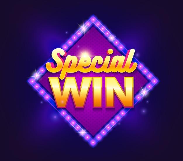 Letrero glamoroso con banner de lámpara special win.