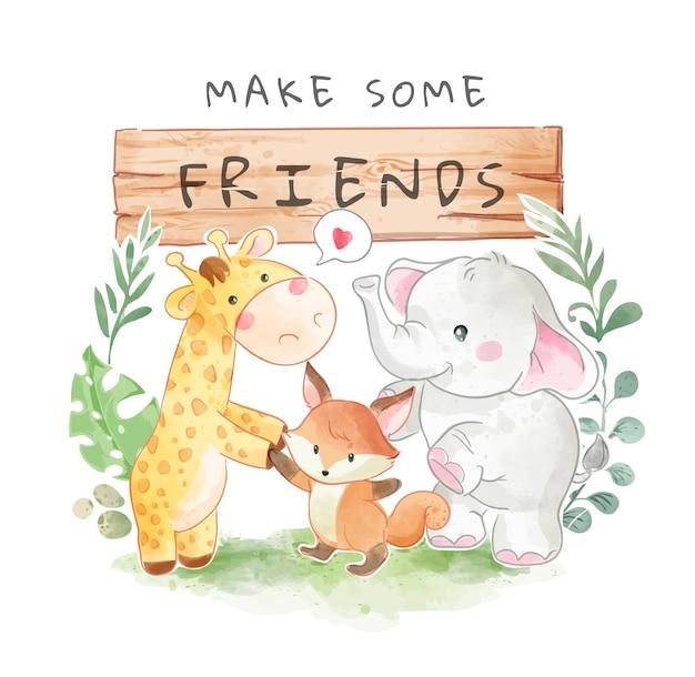 Letrero de madera amigo con linda ilustración de animal salvaje