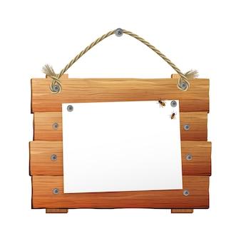 Letrero de madera con cuerda