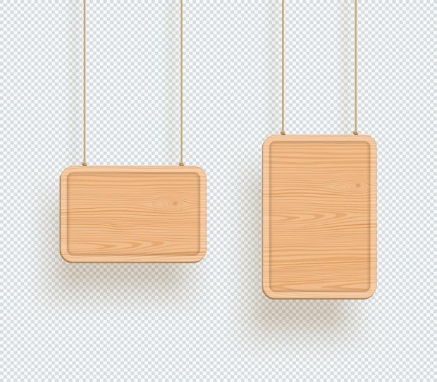 Letrero de madera llano vacío 3d colgando marcos de tablero