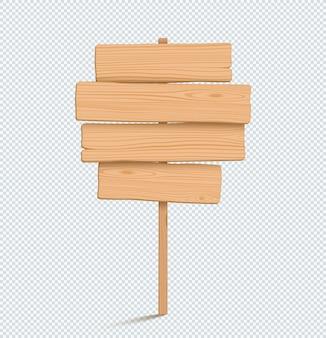 Letrero de madera llano vacío 3d lista apilada cuatro tablones