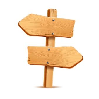 Letrero de madera realista. poste indicador rústico para el diseño del país. textura de madera vintage puntero en blanco. poste indicador de camino de flecha, símbolo de aventura y navegación.