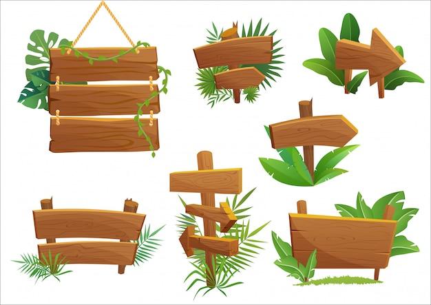 Letrero de madera de selva tropical con hojas tropicales con espacio para texto. ilustración de juego de dibujos animados.
