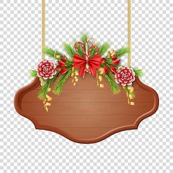 Letrero de navidad y año nuevo colgando de cuerdas