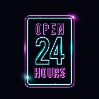 Letrero de neón abierto las 24 horas