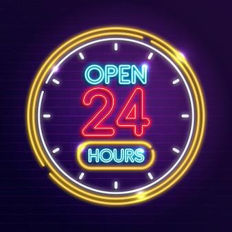 Letrero de neón abierto las 24 horas.