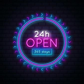 Letrero de neón 'abierto las 24 horas'