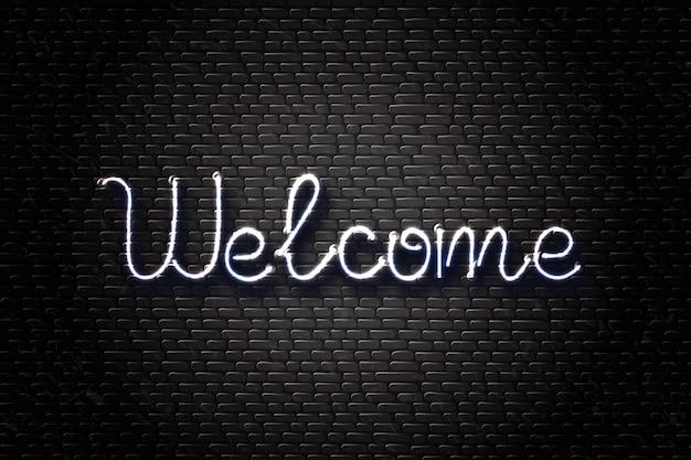 Letrero de neón aislado de letras de bienvenida