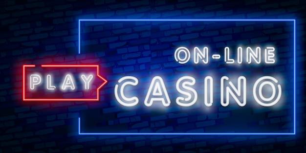 Letrero de neón aislado realista de casino en línea
