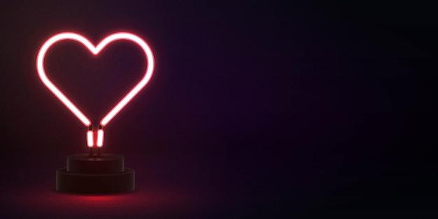 Letrero de neón aislado realista de corazón con espacio de copia