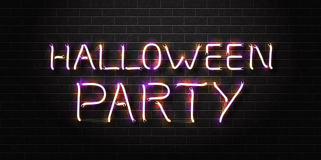 Letrero de neón aislado realista de la fiesta de halloween