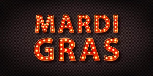 Letrero de neón aislado realista del logo de mardi gras