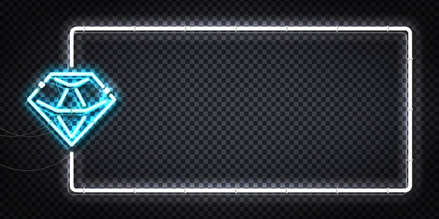 Letrero de neón aislado realista del logotipo del aviador diamond.
