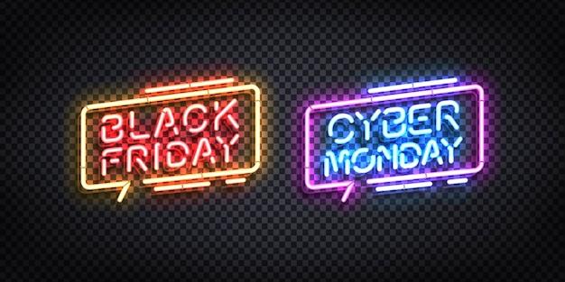 Letrero de neón aislado realista del logotipo de black friday y cyber monday.