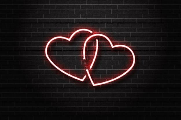 Letrero de neón aislado realista del logotipo del corazón.