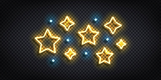 Letrero de neón aislado realista del logotipo de la estrella.
