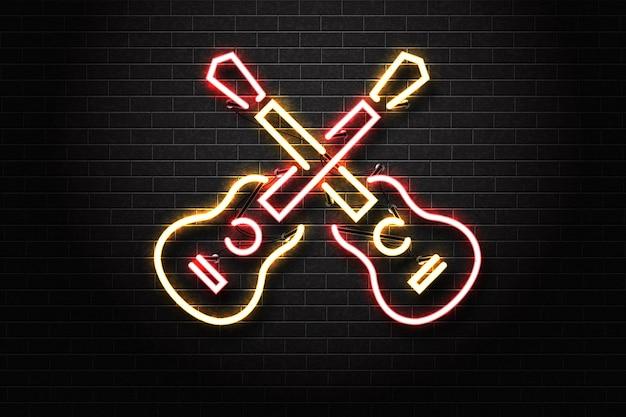 Letrero de neón aislado realista del logotipo de la guitarra para la decoración de la plantilla en el fondo de la pared.