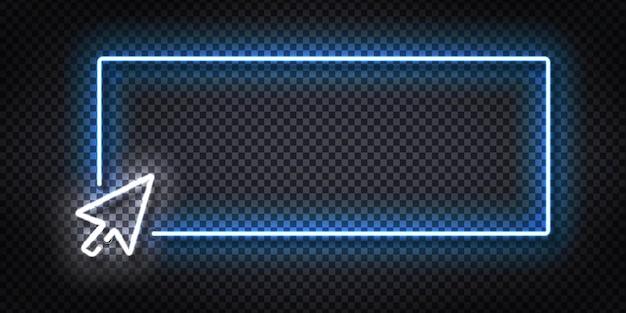 Letrero de neón aislado realista del logotipo del marco del cursor para la plantilla de invitación en el fondo de la pared