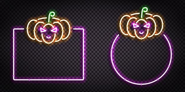 Letrero de neón aislado realista del logotipo del marco de halloween para la decoración de la plantilla y la cubierta de la invitación en el fondo transparente.
